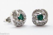 Cz Sterling Silver .925 e32 Elegant Emerald Cz Stud Earrings, Clear