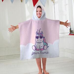 Kids Personalised Hooded Towel Poncho Unicorn Childrens Bathrobe Swim Bath Sun