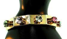 STEVE SASCO Celebrity Designer Multi-Color Prong-Set Rhinestone BANGLE Bracelet