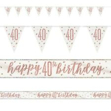 Rose Gold Glitz Age 40 Birthday Banners, Foil Banner, Flag Banner, Party, Pink