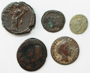 Lot of 5 Ancient Coins Roman Greek You ID Nice Details Bronze Unsearched Unknown