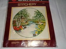Vintage Sunset Crewel Embroidery Kit Spring Garden Cottage No. 2476 NIP