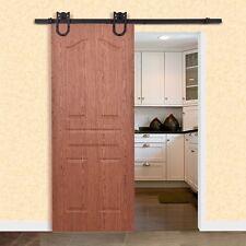 6Ft Home Bedroom Steel Sliding Barn Wood Door Hardware Set Black Door Use New
