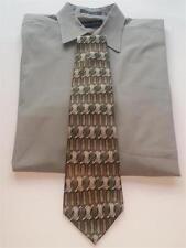 PIERRE CARDIN 100% Silk Tie Men's Classic Length Green Tan Grey Necktie Made USA