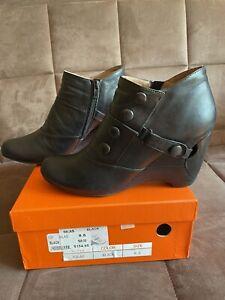 Miz Mooz Women's Silas Leather Button Ankle Boots - Black EUR 39 / US 8.5