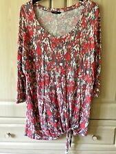 M & Co - Long Tunic Top with Tie Detail - Size 14/18