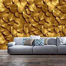 3D DESIGN FOTO TAPETE - VLIES - BLÄTTER GOLD - GRÖSSE 350 x 245 cm