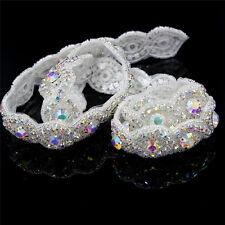 Sparkling Handmade 1yd Crystal AB Silver Rhinestone Applique Bridal Sash Trim