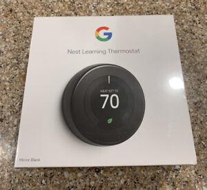 Google Nest 3rd Gen Thermostat BRAND NEW Factory Sealed - T3018US - Mirror Black