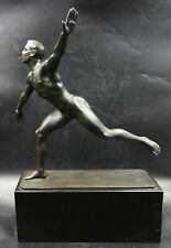 Large Bronze Sculpture Nude Male Olympian Athlete by Anton Weinberger, 1912
