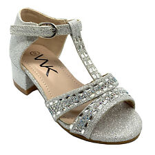 WK K05-02 Girls' Dress Pageant Evening & Party Shoes Silver size 11