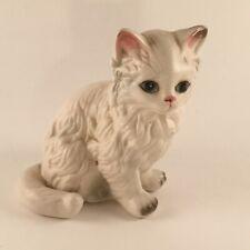 Vintage Lefton Porcelain White Cat 1874 Sitting Long Hair Kitty Figurine Japan