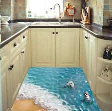 3D Beach dolphin Floor Wall Sticker Removable Mural Vinyl Room Bathroom Decor