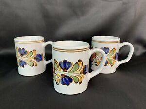 3 Vintage MHV Pottery Redware Mugs Coffee Cups Hungarian Hungary Folk Art Floral