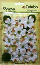 Vintage WHITE Velvet DOGWOOD 8 each of 25mm & 40mm Flowers & 8 Leaves Petaloo V1