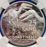 2020 South Africa 25 Silver Rand Archosauria Coelophysis PERFECT NGC MS70 FDOI