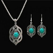 Tibetan Silver Women Pendant Necklace Dangle Earrings Turquoise Jewelry Sets G08