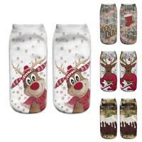 Unisex Adult Winter Cotton Christmas Socks 3D Santa Reindeer Print Socks_Xmas