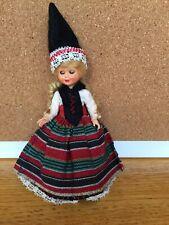 """Vintage Svensk National Costume Plastic Girl Doll, 6.5"""" tall, Blond hair"""