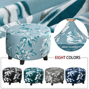 Flower Print Stretch Ottoman Cover Slipcover Removable Stool Footstool Protector