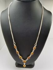 Women's Sterling Silver 925 Necklace with Brown/Orange Stones Free Ship.. #80950