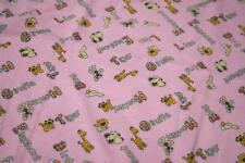 100% Cotton Flannel Fabric Material Wynciette - ANIMAL PINK