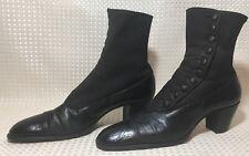 Antique Women's Victorian Boots Edwardian Black Leather Button Up 1900's Sz 7