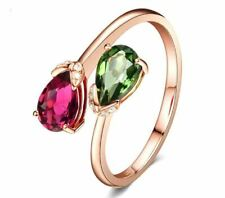 4Ct Pear Cut Red Ruby And Green Peridot Bypass Ring 14K Rose Gold Finish