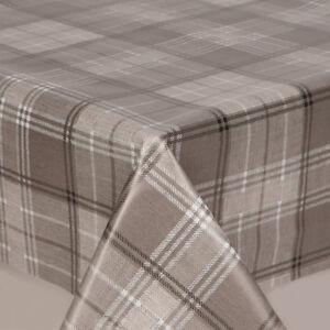 Plain Grey White Tartan Checked Pvc Vinyl Table Cloth Wipe Clean Modern Tweed
