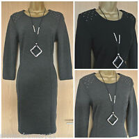 NEW EX YESSICA BLACK / GREY TUNIC STUD SHOULDER DETAIL JUMPER DRESS 8 - 24