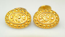 ANTIQUE HEAVY 14K YELLOW GOLD OVAL CUFFLINKS W/ ORNATE RAISED DESIGN 14.5 GRAMS