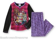 MONSTER High Pjs Girl's size 7/8 NeW 2 piece Shirt Pants Pajamas Spiderwebs Doll