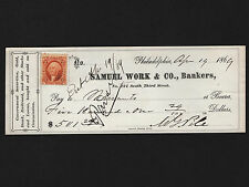 OPC 1869 Philadelphia Samuel Work & Co Bankers $500. Check with Revenue