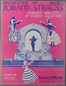 MEMORIES OF JOHANN STRAUSS Famous Waltzes Sheet Music Book Piano Solo