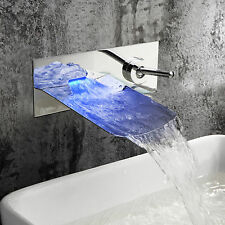Bathroom Wall Mounted Sink Faucet LED Color Changing Waterfall Brass Chrome