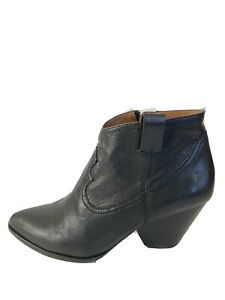 frye boots Size 8.5 womens Reina Black Leather Ankle Boots Western Heel