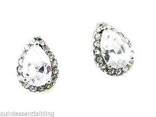 797a Silver Plated Vintage Look Clear CZ Teardrop Stud Earrings