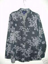 Denim & Co Black/Gray/White Rose Design Cotton Denim Jacket S NEW