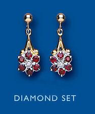 Unique Wishlist 9 ct Oro Amarillo Rubí Y Diamante Colgantes Forma De Flor AP1052