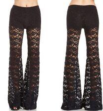 Women's Boho Black Lacey Sexy Designer Flare Pants Large