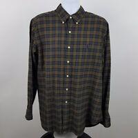 Ralph Lauren Classic Fit Brown Blue Check Men's L/S Casual Button Shirt Size XL