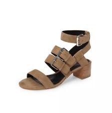 Rebecca Minkoff Sz 6.5 Ilana Sandals Shoes Tan Suede Buckle Strappy Block Heel
