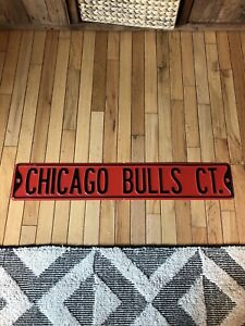 "RARE Vintage Chicago Bulls Court Metal Street Sign Full Size Red 34"" Jordan"