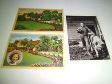 2 Home of Shirley Temple California Vintage Postcards c1940s/James Dean wPig '77