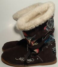 "Don & Ed Hardy Designs ""Dedicated To The One I Love"" Leather Lined Boots Size 8"