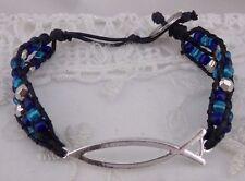 Macrame blue bead Silver Fish Bracelet Fashion Jewelry NEW