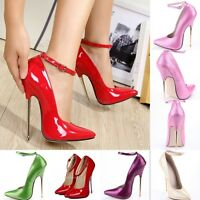 Ladies Pointy Toe Ankle Straps Super High Heels Nightclub Shoes Cross Dress New