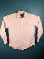 Vineyard Vines Mens Medium Long Sleeve Button Up Shirt Pink Plaid Whale Shirt