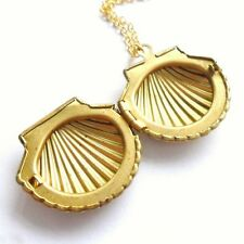 Beach Photo Locket Clam Mermaid Women Sweater Chain Jewelry Necklace Sea Shell