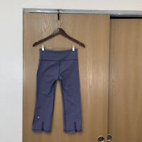 Lululemon Tadasana Slit Crop Capri Yoga Leggings Pants Blue Gray Womens Size 4